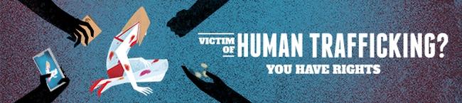 grafika przedstawiająca dłonie w kolorze czarnym wokół siedzącej kobiety oraz napis victim of human trafficking? you have rights